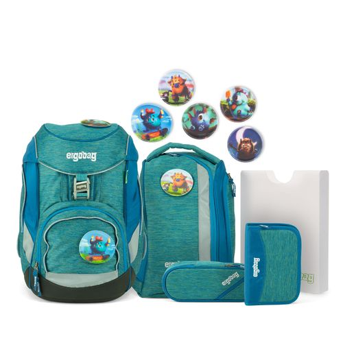 ergobag pack-Set MonstBärfreunde MixMax Edition Melange-Optik türkis - blau
