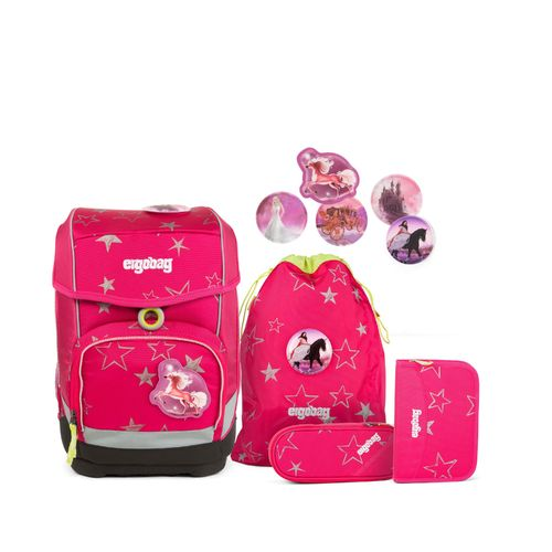 ergobag cubo Light set CinBärella  Pinke Sterne  Prinzessinnen-Kletties
